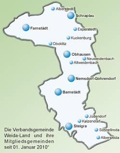 Karte Verbandsgemeinde Weida-Land